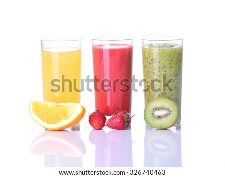 Fruit juice ( strawberries , orange , kiwi  )  Isolated on white background. - stock photo