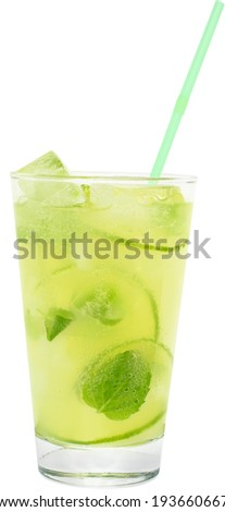 Fruit lemonade with lime and ice cubes in a highball glass on a white background. - stock photo