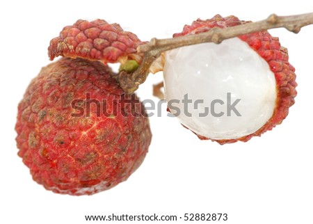 fruit litchi isolated in white background - stock photo