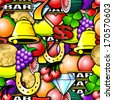Fruit machine symbols. Repeating seamless wallpaper background  - stock photo