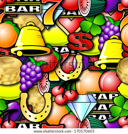 Fruit machine symbols. Repeating seamless wallpaper background  - stock photo