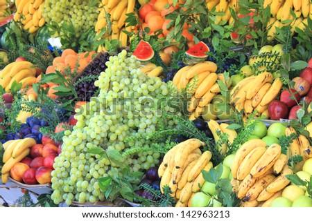 Fruit market stall - stock photo