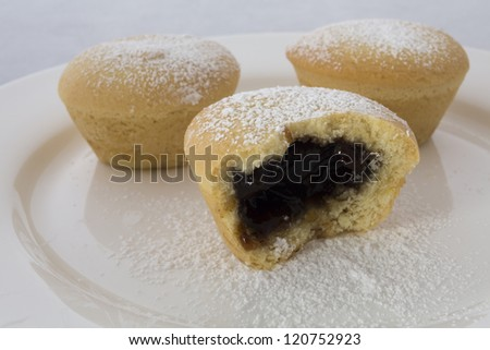 Fruit Mince Tarts/ traditional english christmas fruit mince pies with icing sugar on top - stock photo