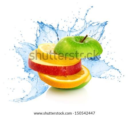 Fruit mix in water splash - stock photo
