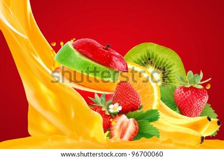 Fruit mix on red background - stock photo