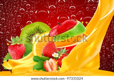 Fruit mix on red background - stock photo