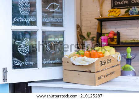 Fruit on windows with various colorful fresh fruits and vegetables . - stock photo