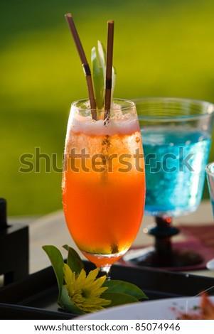 fruit orange juice on dining table - stock photo