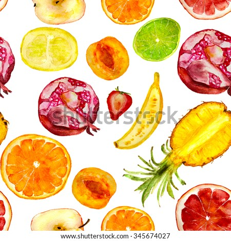 fruit pattern: pineapple, strawberry, pomegranate, lime, grapefruit, apricot, apple, orange, banana. hand drawn watercolor - stock photo