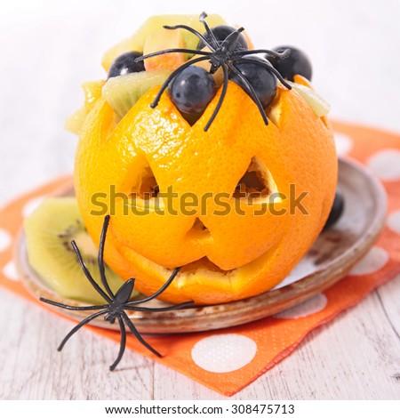 fruit salad for halloween - stock photo