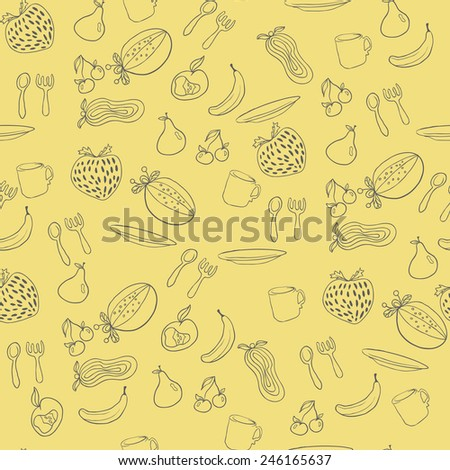 Fruit seamless pattern. Abstract background with fruits. Healthy food texture. Raster  illustration - stock photo