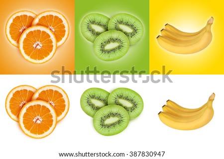 Fruit set on colored backgrounds. Orange, kiwi, banana isolated on white background. - stock photo