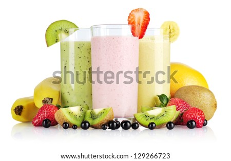 Fruit smoothies with black currant, strawberry, kiwi, orange and banana isolated on white background - stock photo