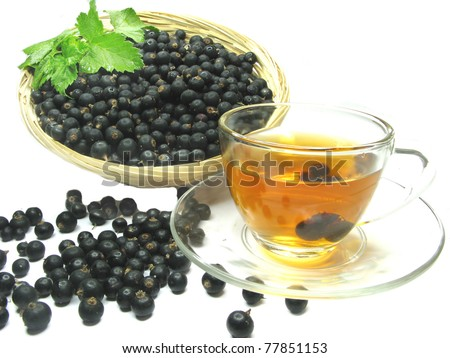 fruit tea with black currant extract and berries - stock photo