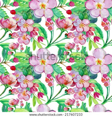 Fruit tree  pink flowers. Seamless floral template. Watercolour  - stock photo