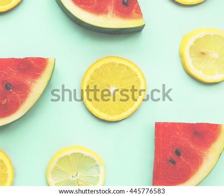 Fruit Watermelon Lemon Juice Nature Tasty Sliced Concept - stock photo