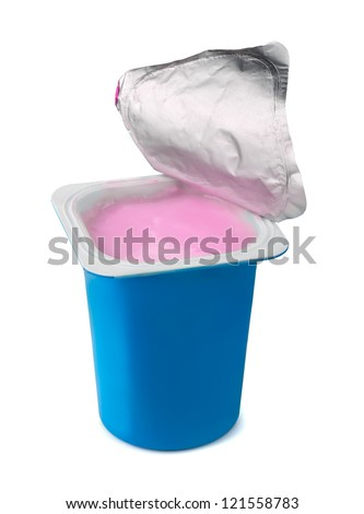 Fruit yogurt in blue plastic box isolated on white - stock photo