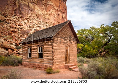 Fruita School House, Capitol Reef National Park, Utah. This historic school house was built in 1896 by mormon settlers.The little one-room building served as the learning center for grades 1 - 8. - stock photo