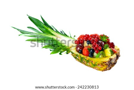 fruits and berries isolated on a white background - stock photo