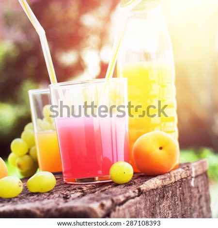 Fruits and Glasses of Fresh Juice on the Wooden Board. Party time. Outdoor - stock photo