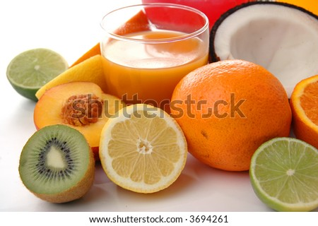 fruits and juice - stock photo