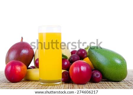 fruits and juice isolated on white background - stock photo