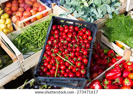 Fruits and vegetable in the open air market. - stock photo