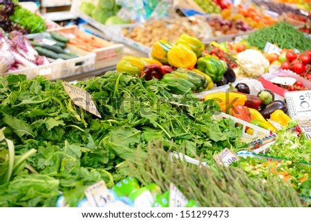 Fruits and vegetables at a farmers market  - stock photo
