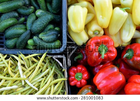 Fruits and vegetables at a farmers market for sale. Color concept - stock photo
