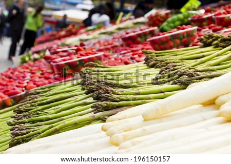 Fruits and vegetables at farmers market - stock photo