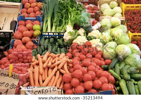 fruits and vegetables at the open market - stock photo