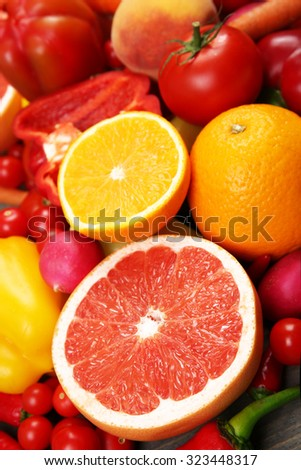Fruits and vegetables closeup - stock photo
