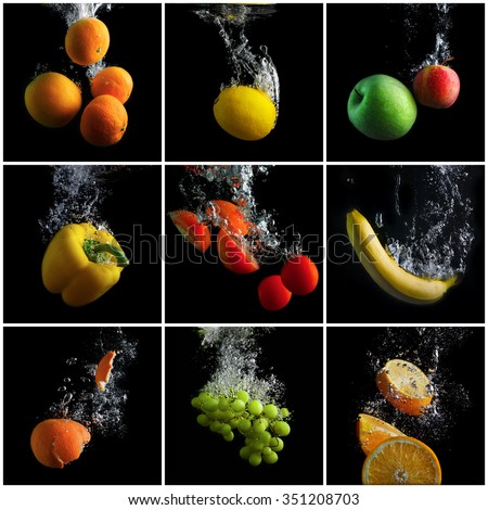 Fruits and vegetables falling into the water with splashes and bubbles. A set of photos. Concept of clean food. Promotion of healthy eating. - stock photo