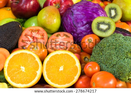 Fruits and vegetables for healthy - stock photo