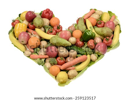 Fruits and vegetables heart - stock photo