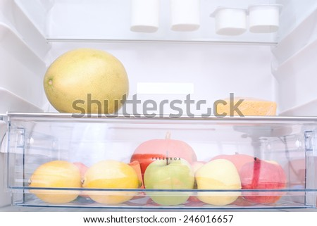 fruits and vegetables in the refrigerator  - stock photo