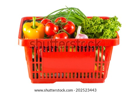 fruits and vegetables in your shopping cart - stock photo