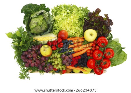 Fruits and vegetables isolated on white - stock photo