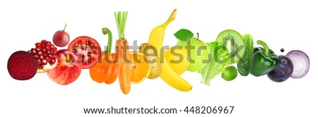 Fruits and vegetables on white background. Healthy food concept - stock photo