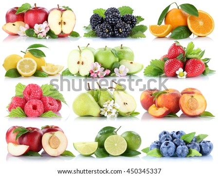 Fruits apple orange berries apples oranges strawberry collection isolated on a white background - stock photo