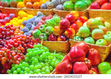 Fruits at a market - stock photo