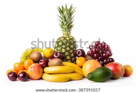 Fruits background.Healthy eating.  exotic fruits isolated on white - stock photo