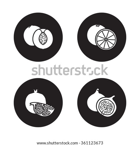 Fruits black icons set. Half sliced peach with seed and cut into pieces pomegranate  symbols.Orange and fig fruit. White silhouettes illustrations on black circles. Raster infographics elements - stock photo