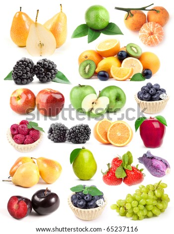 Fruits collection, fruits isolated. Big Set of different Fruits, apple, plum, grape, orange, strawberries. Fruits on white background. Mixed Fruit, Fruits and Vegetables set. Composition of fruits. - stock photo