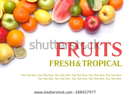 Fruits collection, fruits isolated. Big Set of different Fruits, orange, apple and other citrus. Fruits on white background. Mixed Fruit, Fruits set. Composition of fruits. Tropic Fruit. Diet Set. - stock photo