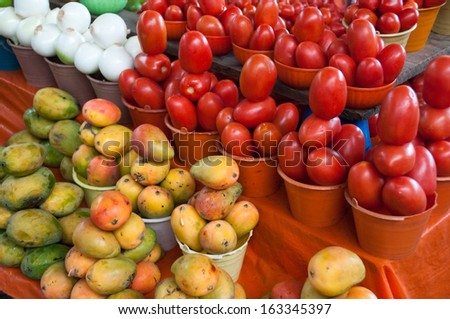 Fruits for sale in a market, Chiapas (Mexico) - stock photo