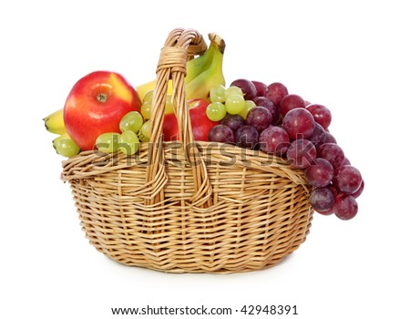 Fruits in basket isolated on white background. - stock photo