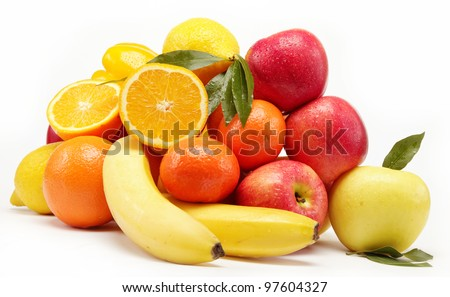 fruits isolated on a white background. - stock photo