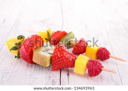 fruits kebab - stock photo