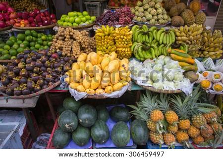Fruits market in Luang Prabang , Laos - stock photo